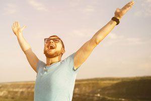 Happy man mortgage free